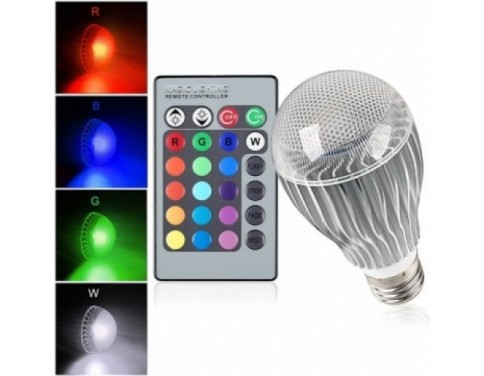 10-Watt Color Changing LED Light Bulb with Remote Control - Powered by 3 Vibrant LED's and 10 Watts of Power, its the Brightest Multi Color LED Bulb and Mood Light.