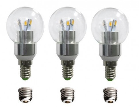 LED Round Bulb with a Candelabra Base, E12, 3 Pack, 230 Lumens, 3 Watts, Warm White, Dimmable, Comes with E26 Adapters, 25 Watt G35 or G45 Equivalent