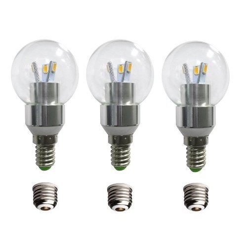 Led round bulb with a candelabra base e12 3 pack 230 lumens 3 led round bulb with a candelabra base e12 3 pack 230 lumens 3 watts warm white dimmable comes with e26 adapters 25 watt g35 or g45 equivalent mozeypictures Images