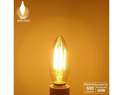 LED Filament Candelabra Bulb, 4.5W (60W Equiv.), UL-listed Vintage Style E12 Lamp Bulb, 2700K Soft White, 360° Beam Angle