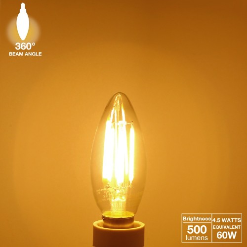 6 Pack 4w Led Filament Candle Light Bulb 2700k Warm White