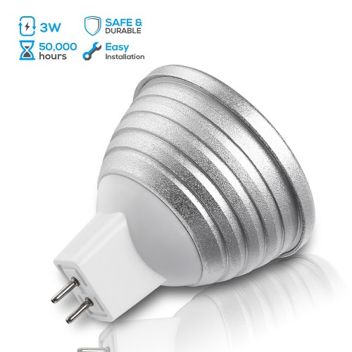 3w Multi Color Mr16 Gu5 3 Led Bulbs 12v Dimmable Rgb