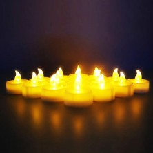 omailighting [longest lasting] battery powered no flame flashing LED Tea Light Candle (12 Pack) twelve pack