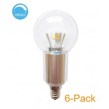 6-Pack E12 Dimmable LED Globe Bulb 5w 45 watt Candelabra Base bulb 360 Degree Beam Angle