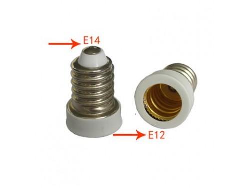 6-Pack White Edison Screw E14 to Candelabra Screw E12 Halogen LED Bulb Base Light Converter Adapter Lamp Holder