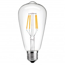 E26 Medium Base Lamp, ST21(ST64) Antique Shape, Clear Glass Cover, 80W Equivalent, 3 Pack