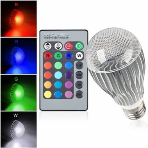 Auraglow 7w Remote Control Colour Changing Led Light Bulb: E27 9W IR Remote Control 16 Color Change RGB LED Ball