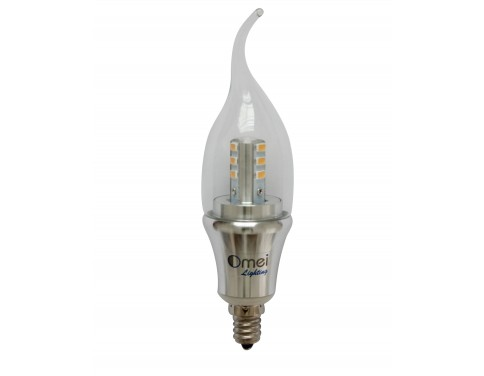 6-Pack LED Candelabra Bulb Daylight Dimmable E12 6W 60W 60 Watt 3850 - 4250k Natural Daylight Bent Tip