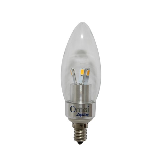 Flame Tip Led 3w E12 Candelabra Base Bulbs 40w 40 Watt Cool White 6000k Candle Light Bullet Top 200 Lumen Chandelier Bulb
