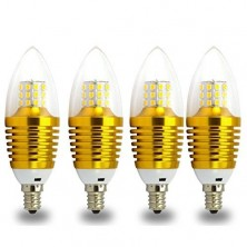 LED Candelabra Light Bulbs, 7-Watt, 60w Equivalent Replacement(560 lumens), E12 Candle Base, Warm White(2700K-3000K), Torpedo Lens, Golden Color Clear Glass Cover 4pcs/Pack