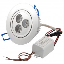White Round LED Ceiling Recessed Lamp Downlight 3W 3 x 1W 6000K