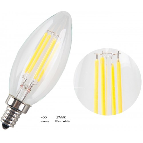 6pack 4w led filament candle light bulb2700k warm white 400lme12 candelabra base lamp c35
