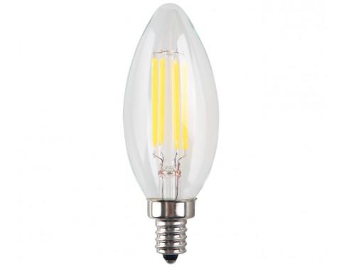 4W LED Filament Candelabra Bulb, 40W Incandescent Replacement, Warm White 2700K, 350 Lumens, 270° Beam Spread, E12 Candelabra Base, Torpedo Shape
