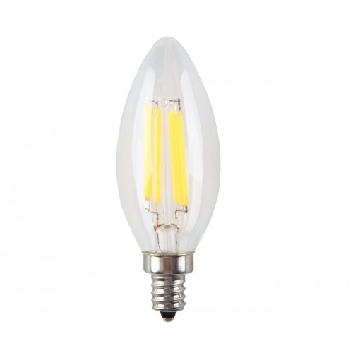 6w Non Dimmable Led Filament Candle Light Bulb 2700k Warm White 600lm E12 Candelabra Base Lamp C35 Bullet Top 60w Incandescent Replacement