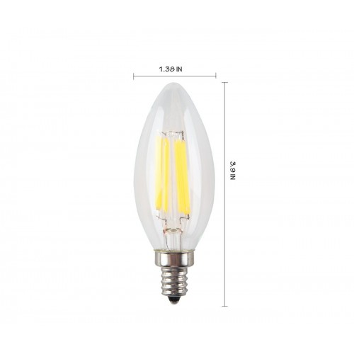 6w Non Dimmable Led Filament Candle Light Bulb 2700k Warm White 600lm E12 Candelabra Base Lamp