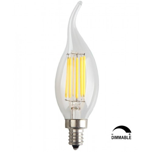 6 Pack 6w Dimmable Led Filament Candle Light Bulb Cool White 6000k 600lm E12 Candelabra Base Lamp C35 Bent Tip 60w Incandescent Replacement