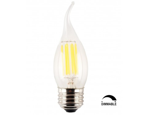 6-Pack 6W Dimmable LED Filament Candle Light Bulb,E26 Base Chandelier Lamp,3200K Soft White 700LM,C35 Shape Bnt Tip,70W Equivalent,360° Beam Angle