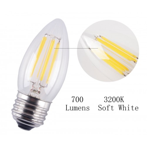 6 Pack 6w Dimmable Led Filament Candle Light Bulb E26 Base