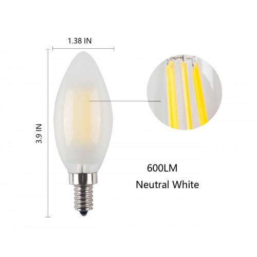3 Pack Led E12 6w Dimmable Filament Candle Light Bulb 4000k Daylight Neutral White 600lm