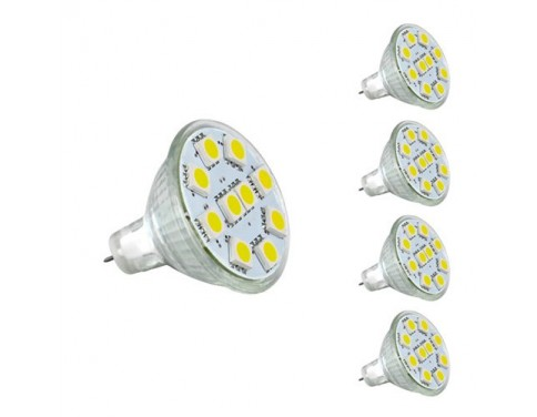 1.8W MR11 GU4.0 LED Bulbs, 20W Halogen Bulbs Equivalent, GU4 Base, 165lm, 12V AC/DC, 120° Flood Beam, Daylight White, 6000K, LED Light Bulbs, Pack of 4 Units