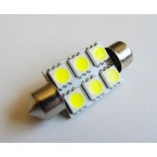 4X37mm6SMD-CW 37mm High Power 6 SMD LED Festoon Dome Bulb, 12 Volt, 1.2 Watt, 120 Lumen, White (6000K), Pack of 4 Bulbs