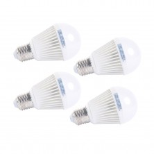 E27 LED Light Bulb Pack of 4 Super Bright Lamp 5w 350lm White Light Ac100-240v Color White