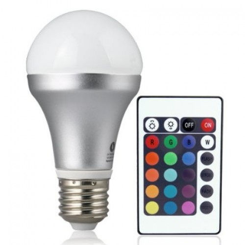 remote controlled color changing a19 5w led light bulb 16 color choice e26 medium screw base. Black Bedroom Furniture Sets. Home Design Ideas