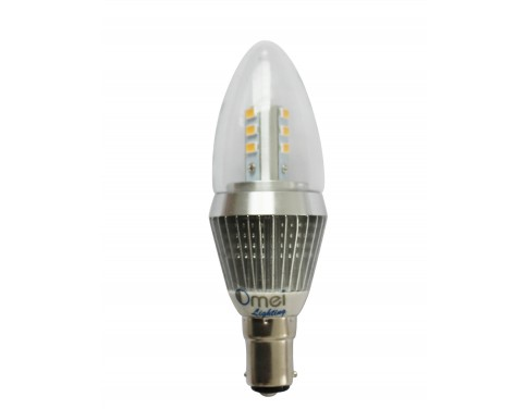 4-Pack Dimmable B15 LED Candle Bulbs Bayonet Small Bayonet 7W Clear Cover Daylight Color 360 Degree Lighting Bullet Top Chandelier Bulbs