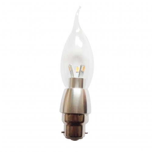 dimmable led candle bulb 6pack b22 led bayonet bulbs 3w clear cover 3000k warm white 360 degree lighting flame tip chandelier light