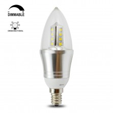 5 Watt B35 E12 LED Chandeliers Light Bulbs--50W Incandescent Replacement--Soft White 3200K,360 degree Omni-direction Candelabra 450 Lumens,Pyramid Shape,Blunt Tip Plastic Cover,Silver Alumium body,Wall Sconces