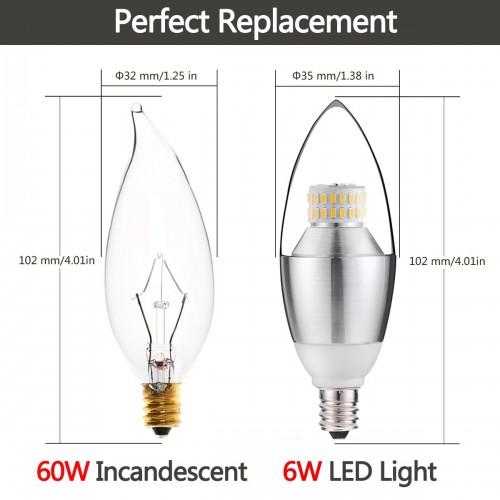 6 Watt B35 E12 Led Chandelier Light Bulbs 60w Incandescent