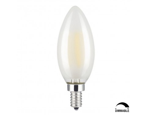 6W Dimmable LED Filament Candle Light Bulb, 4000K Daylight (Neutral White) 600LM, E12 Candelabra Base, C35 Torpedo Shape Bullet Top, Frosted Glass Cover, 60W Incandescent Equivalent