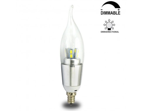 7 Watt Dimmable C35 Led Candelabra Light Bulbs E12 Candle Lamps 60w Incandescent Equivalent Energy Saving Chandeliers Cool White 6200k Flame Tip