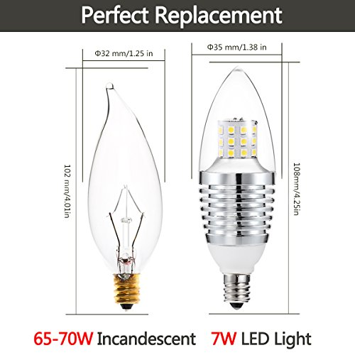 Sweety Style 7 Watt Daylight Dimmable Pure White 6000k B35 E12 Base Led Candelabra Bulb