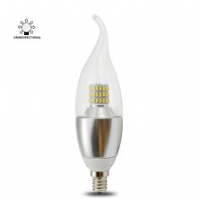 7 Watt Ca35 E12 LED Chandelier Light Bulbs--65W Incandescent Replacement -- Warm White 3200K,360° Omni-direction Candelabra 600 Lumens,3 Layers Torpedo Shape,Wall Sconces,Bent/Flame Tip Glass Cover,Silver Alumiuma lamp body