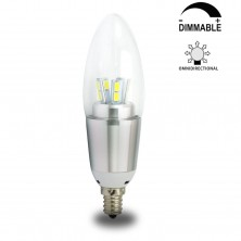 7 Watt Dimmable B35 LED Candelabra Light Bulbs E12 Candle Lamps--60W Incandescent Equivalent Energy-saving Chandeliers LED Bulbs Cool White 6200K, Blunt Tip, Silver Polished Lamp Body