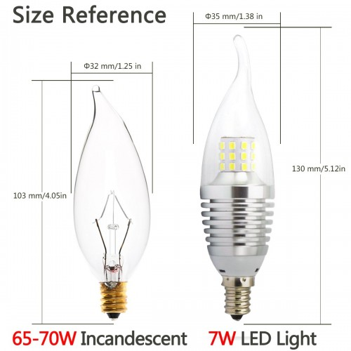 6 Pieces Pack Led Candelabra Bulb Daylight 6000k E12