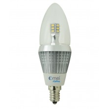 4-Pack led candelabra bulbs dimmable e12 base led 5w 50 watt warm white 3000k torpedo light bulb