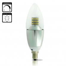 7W Dimmable LED B35 E12 Candle Light Bulb 50W-70W Incandescent Bulb Equivalent Cool White(6500K) 700 Lumens Silver Alumium Lamp