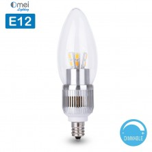 E12 Dimmable 60W Equivalent - 7W LED 700 Lumens Round-top Clear Silver Base Candelabra Bulb Warm White 3000K