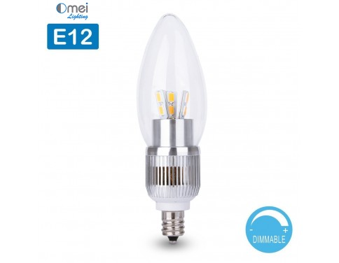 E12 Dimmable 60w Equivalent 7w Led 700 Lumens Round Top Clear Silver Base Candelabra Bulb Warm White 3000k