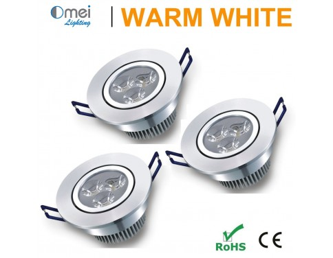 3W Warm White LED Recessed Ceiling Wall Downlight Spotlight Lamp 80-265v (3 Pack)