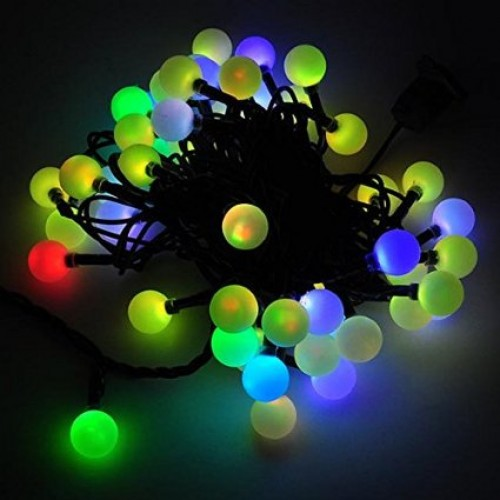 led color changing linkable 16 feet christmas light string with 50 rgb globes with green wire
