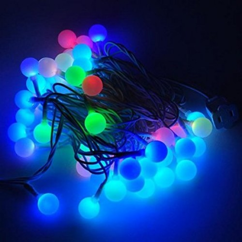 led color changing linkable 16 feet christmas light string with 50 rgb globes with white wire