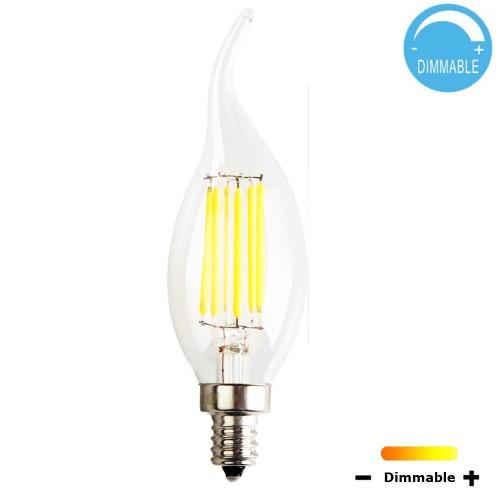 C35 6 Watt Led Filament Candelabra Bulb Dimmable Soft White 2700k E12 Base Equivalent To 60w Incandescent Chandelier 360 Degree Beam Angle