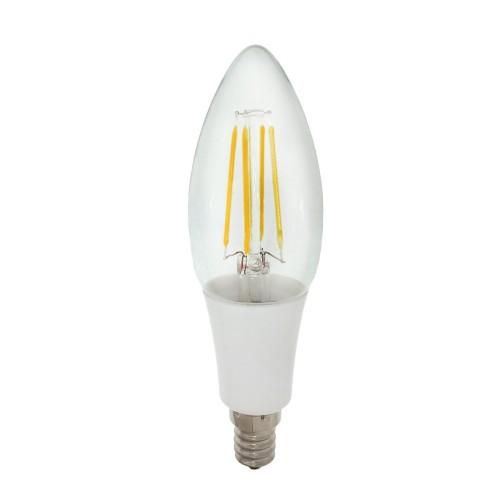vintage led filament bulb 40w equivalent 4w candelabra e12 base led bulb cool daylight white 6000k w clear glass 360 beam angle for home restaurant