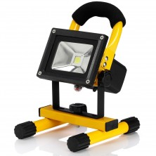 OmaiLighting Warm White 10W LED Work Flood Light Rechargeable Cordless Portable LED Floodlight with Charging Adapter