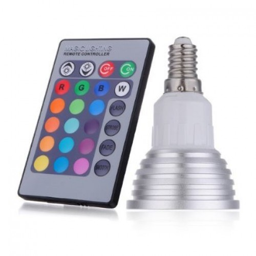 3w e14 rgb led spot light spotlight bulb lamp 16 colors with remote controller. Black Bedroom Furniture Sets. Home Design Ideas