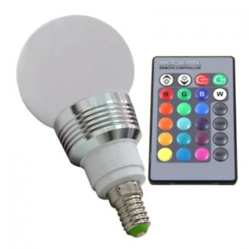 3w e27 rgb multi color led light bulb with remote control. Black Bedroom Furniture Sets. Home Design Ideas
