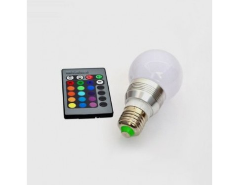 3W E27 RGB Multi-Color LED Light Bulb With Remote Control